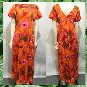 Alice Polynesian Fashions Orange Barkcloth MuuMuu